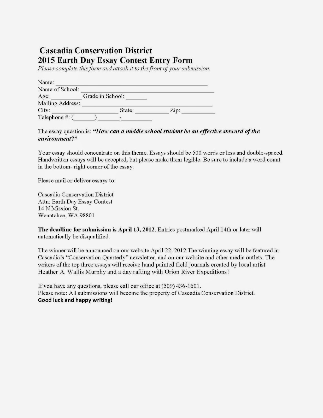 essay entry form Essay contest entry form (district only) the topic for the 2017 essay competition: the three domains of the key club experience are heart to serve, call to lead, and.