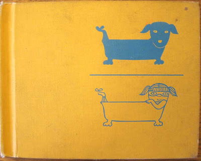 Yellow cover with blue printed illustrations of a girl in a bathtub and a dog