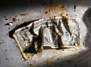dirty gross disgusting messy US American dollar bill George Washington 1 buck One dollar