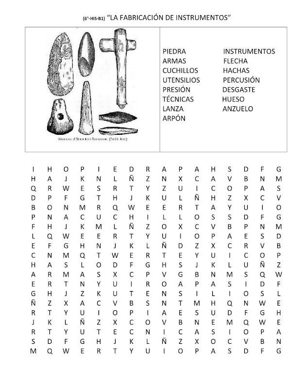 Sopa de letras de las herramientas prehistóricas