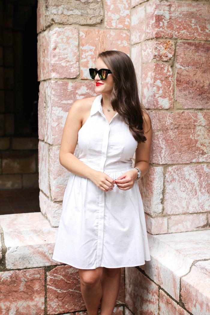 cece cynthia steffe white halter shirtdress