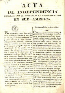Acta de declaración de independencia que dio origen a la actual República de Argentina