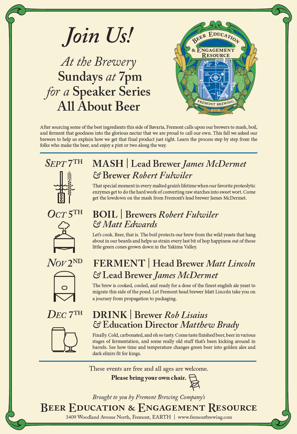 """image of Fremont's Speaker Series """"All About Beer"""" courtesy Fremont Brewing Company"""