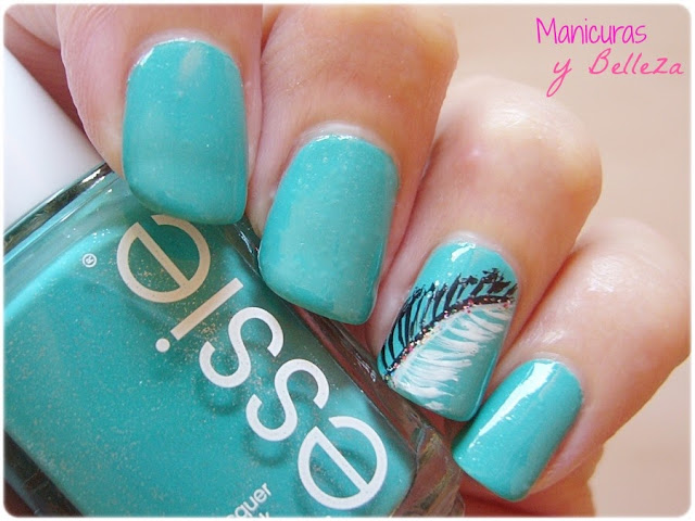 Manicura Naughty Nautical Essie coleccion verano 2013 Uñas decoradas con plumas Feather nails nail art concurso sorteo ganado