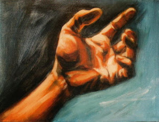 painting of left hand reaching to grab for something