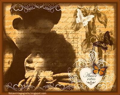 pareja vintage con flores y mariposas