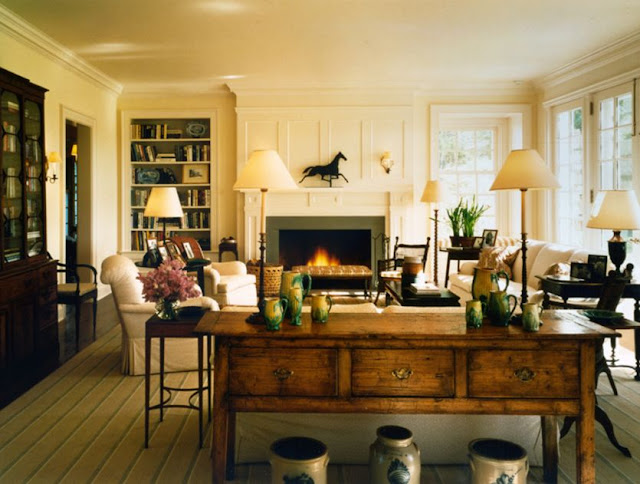 New home interior design robert a m stern residence at - Green living room ideas in east hampton new york ...