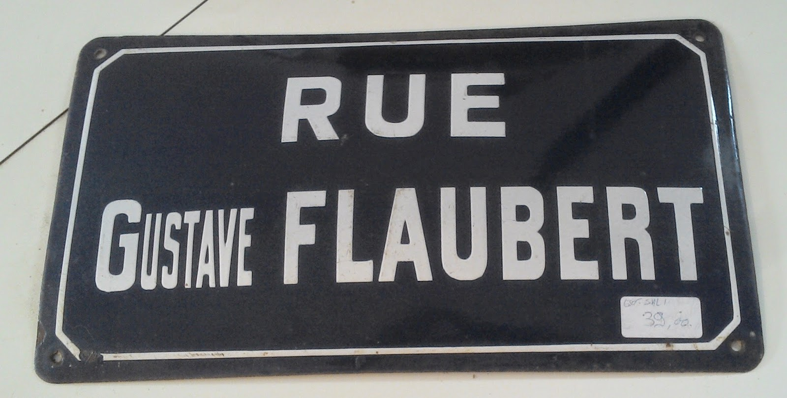ancienne plaque de rue m tal maill rue gustave flaubert. Black Bedroom Furniture Sets. Home Design Ideas