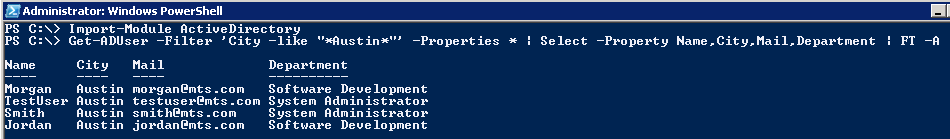 AD PowerShell: Get-ADUser - List Selected properties as Table