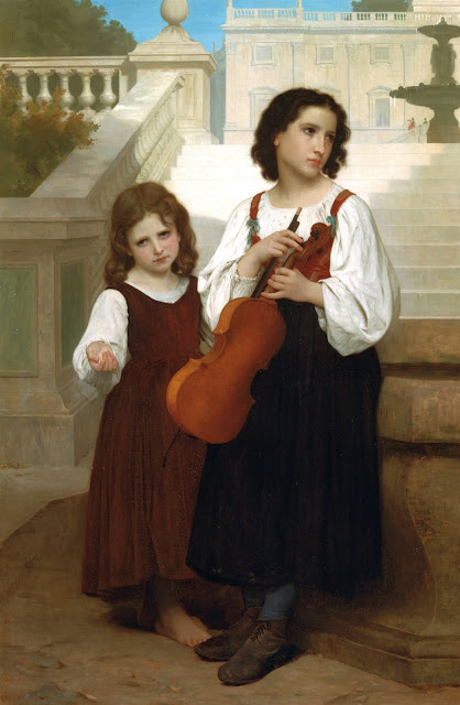 violin,poor girls,Bouguereau
