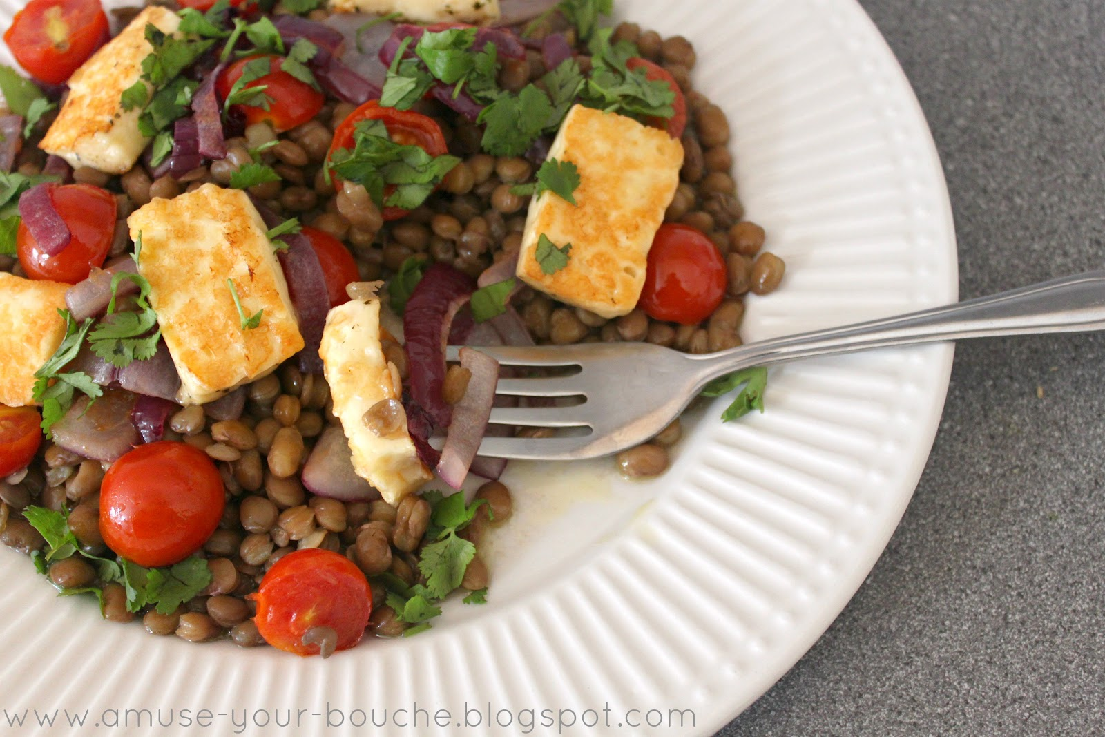 warm lentil and halloumi salad amuse your bouche