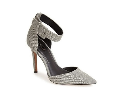 Jessica Simpson gray ankle strap heeled pumps