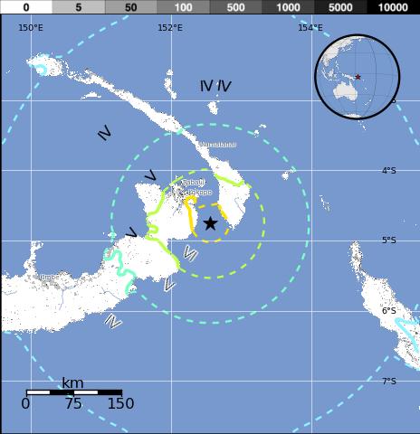 Epicentro terremoto 7,7 grados en Papúa Nueva Guinea, 30 de Marzo 2015