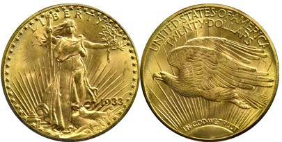 1933 Saint-Gaudens Twenty Dollar Gold Piece