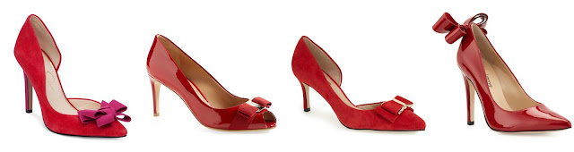Three of these red bow pumps are under $90 and the other is from designer Salvatore Farragamo for $595. Can you guess which one is the designer pair? click the links below to see if you are correct!