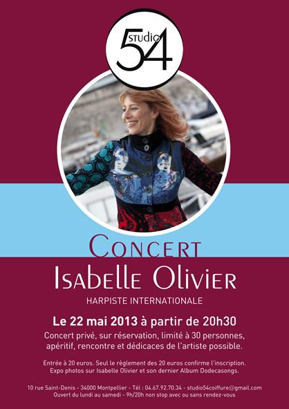 Affiche du concert d'Isabelle Olivier au Studio 54, salon de coiffure à Montpellier.