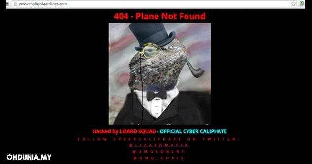 Laman web Malaysian Airlines digodam Lizard Squad (Cicak Bertopi)