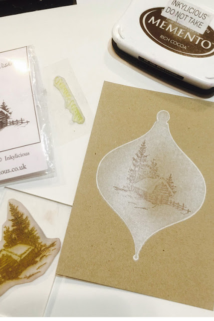 Inkylicious Winter Bauble - Faux Parchment - Step 4