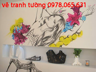 Vẽ tranh tường shop thời trang