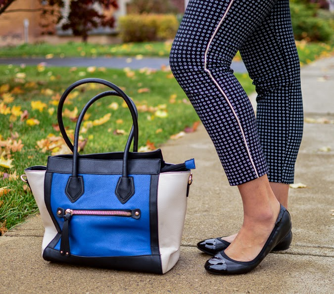 Printed ankle pants + leather purse