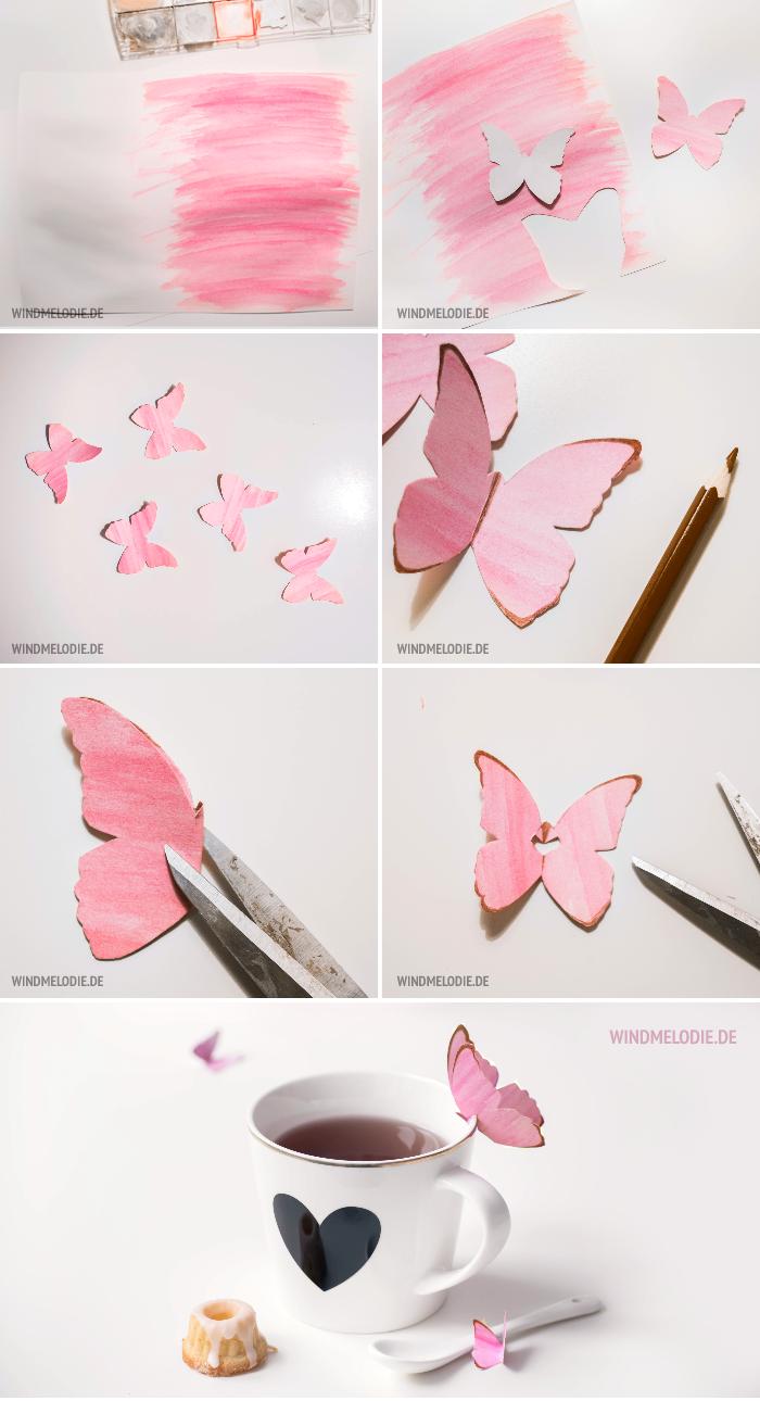DIY Schmetterling aus Papier basteln rosa