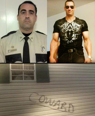 "John Pisciotta (top left) told the truth about the sadistic, roid-raging prison guard William Wilson (top right). The bottom photo shows how honest law enforcement officers are treated by their fellow ""officers."""