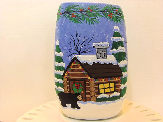 Painted North Woods Vase