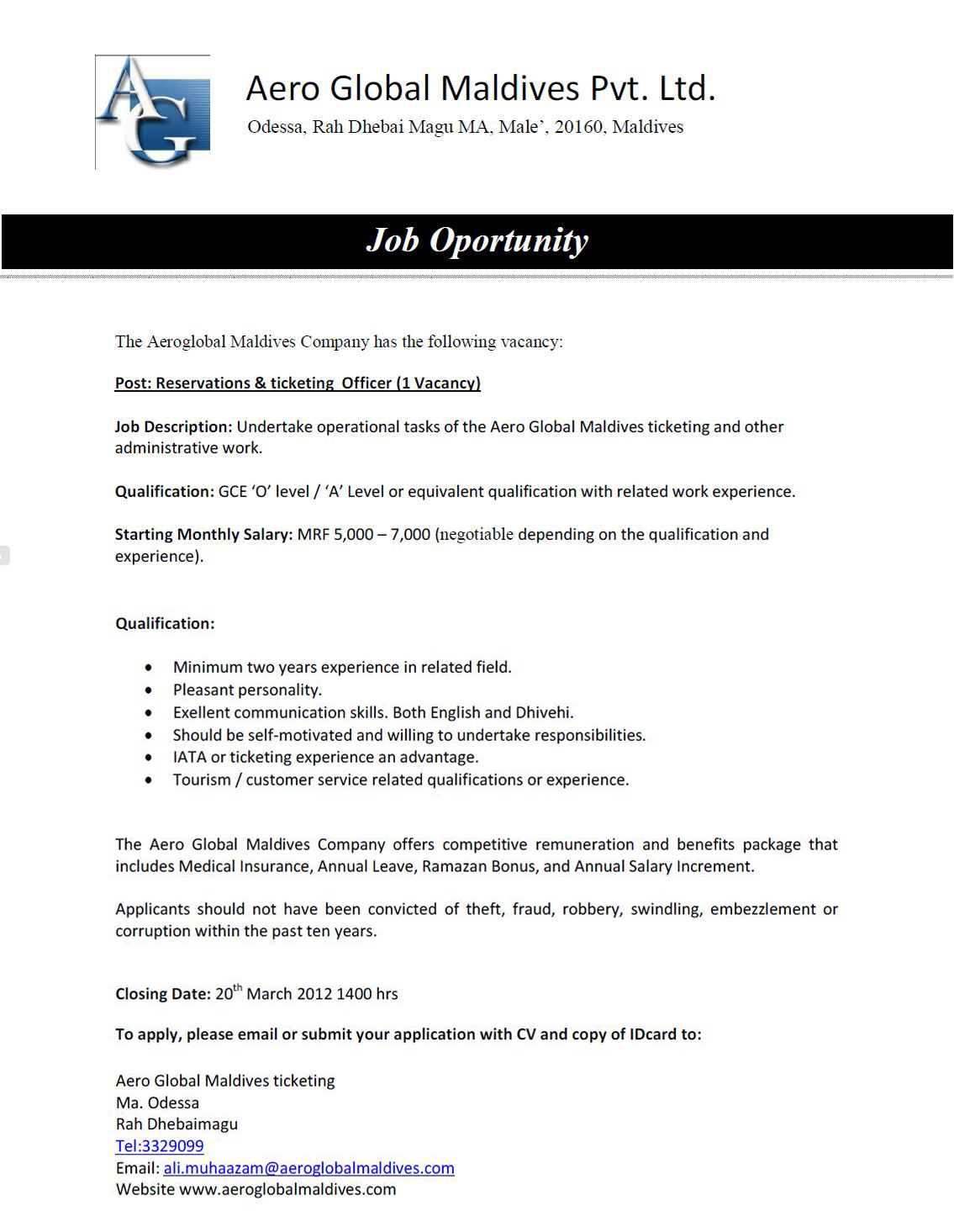 cover letter for ticketing and reservation officer