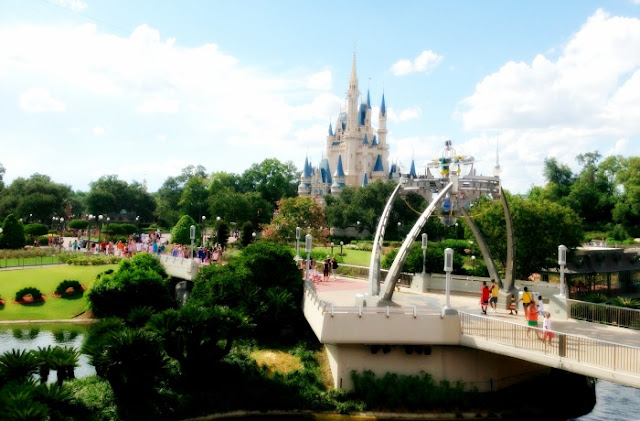 Morgan's Milieu | Holding Back: View of Cinderella's Castle in the Magic Kingdom, from Tomorrowland Terrace.