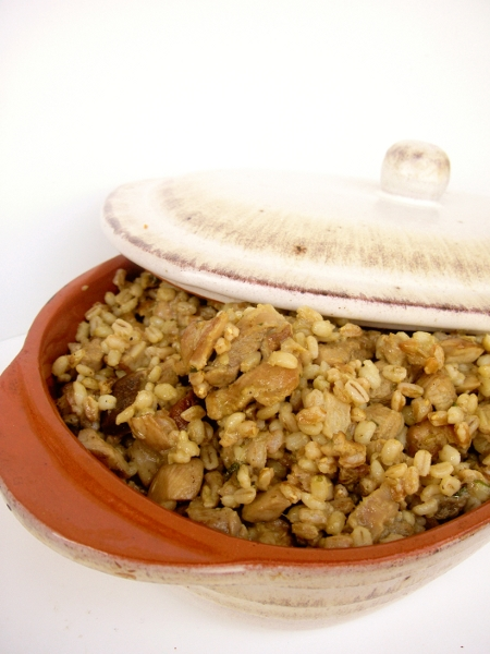 insalata di farro e orzo perlato con funghi porcini e tacchino allo zafferano