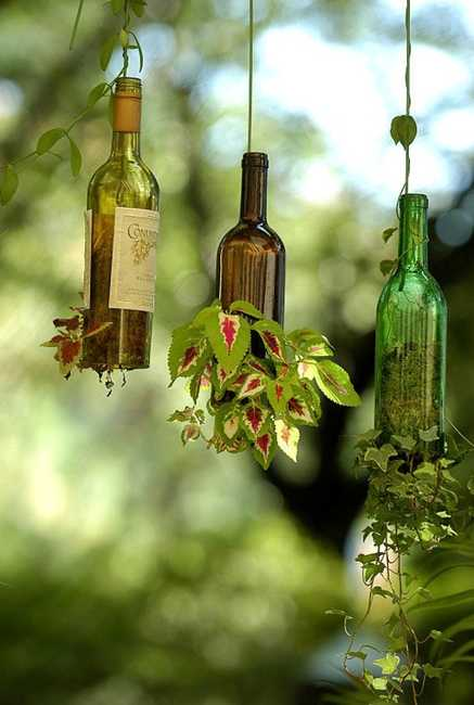 How to recycle recycled hanging planters - How to recycle glass bottles ...