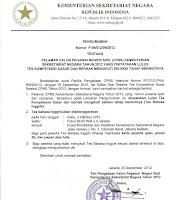 Sertifikasi Daftar Peserta Lulus Tes Di Kesekretariat Negara Tahun 2012
