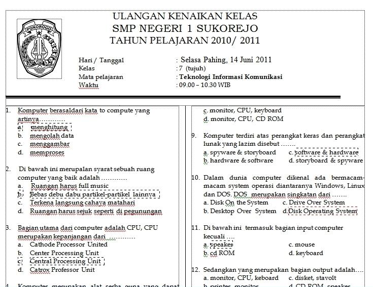 Download Soal TIK SMP Kelas 7 Semester Genap 2 di bawah ini :