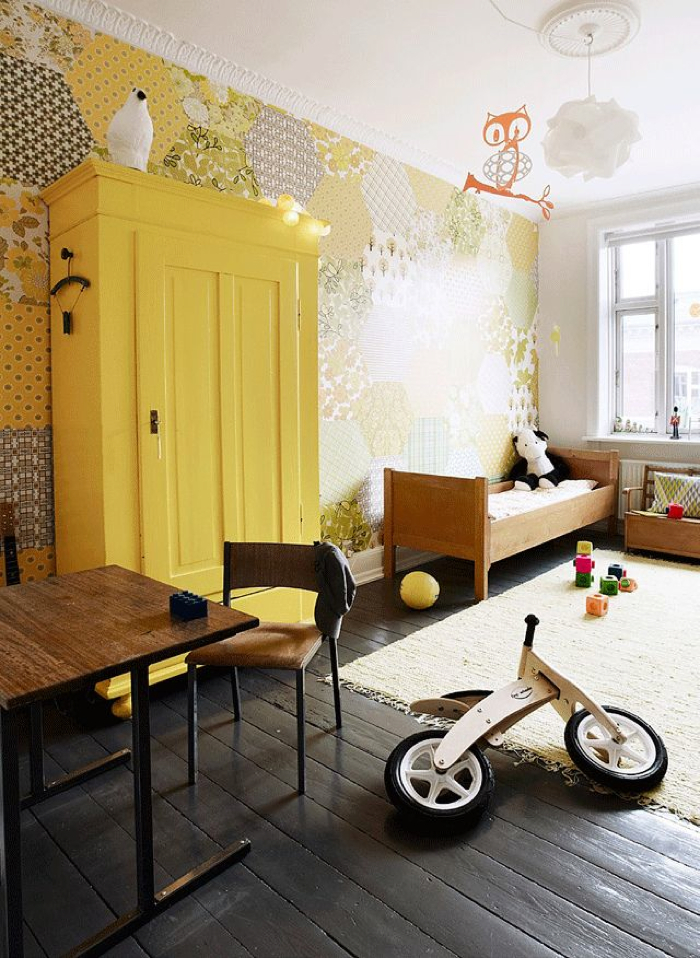 yellow wall paper in kids room