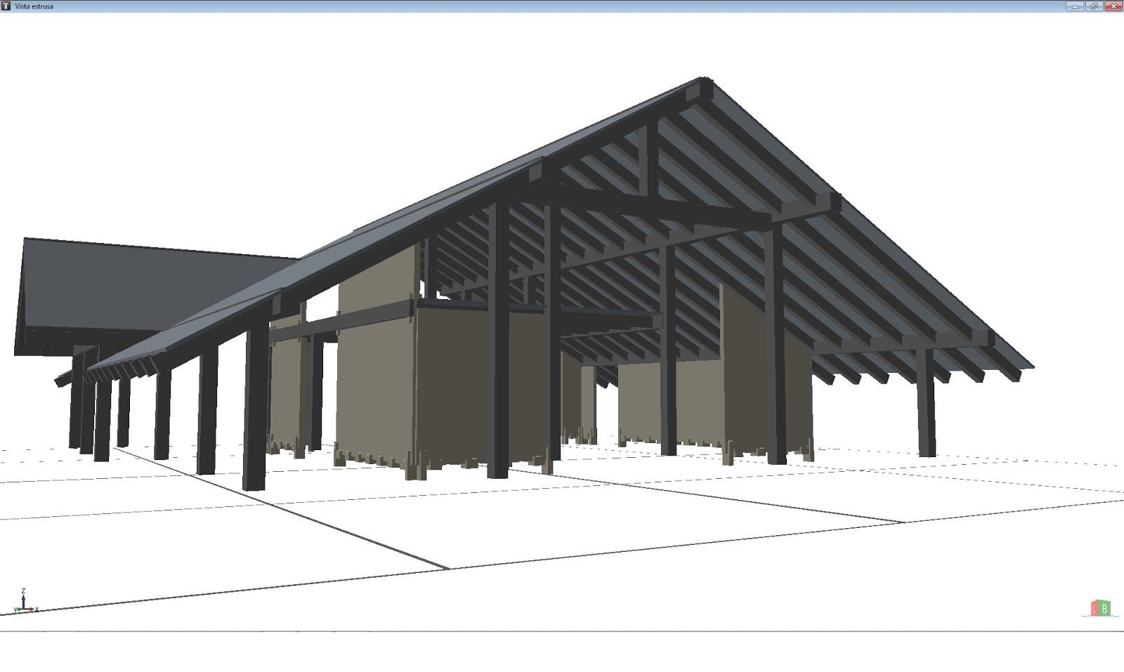 Modello Timbertech vista 1 soppalco e tetto in legno