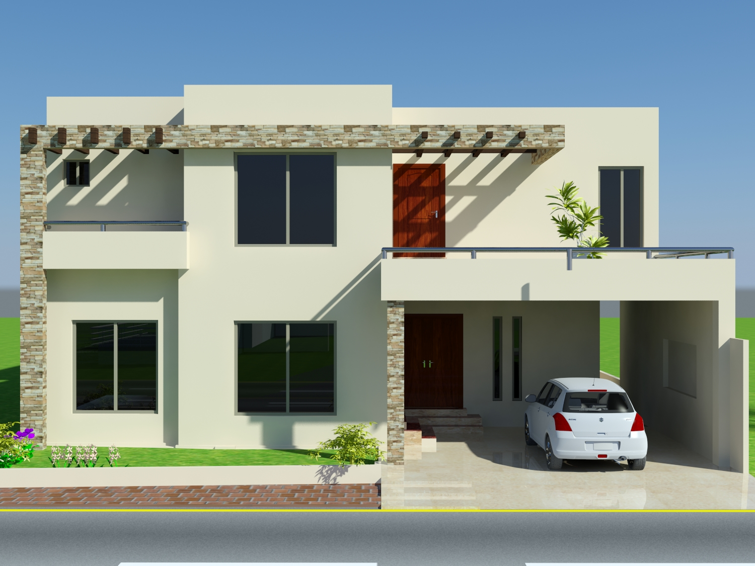 3d front 10 marla house design mian wali for Pakistani new home designs exterior views