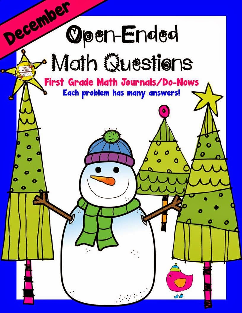 http://www.teacherspayteachers.com/Product/December-Open-Ended-Math-Questions-for-Journals-or-Do-Nows-First-Grade-1586762