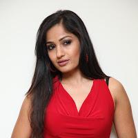 Madhavi latha in red sleeveless tops