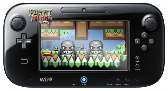 Mutant Mudds Deluxe being played on Wii U GamePad