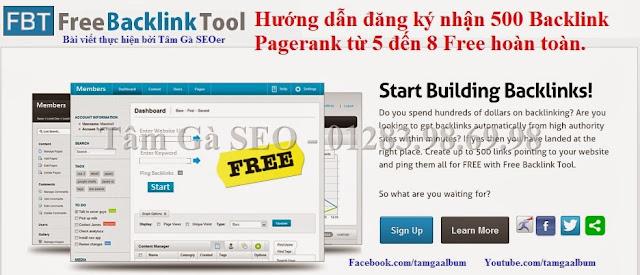 FreeBacklinkTool - Hướng dẫn đăng ký auto 500 Backlink Pagerank 7,8,9
