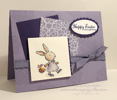 Girl Bunny With Basket Hand-Stamped Easter Card Idea