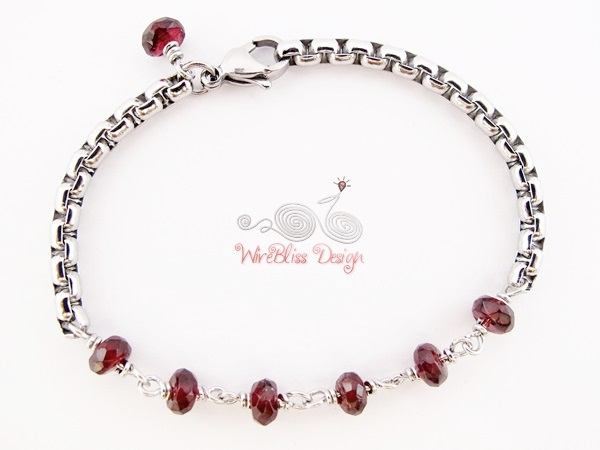 Minlet by WireBliss - Garnet with Box Link Stainless Steel Chain
