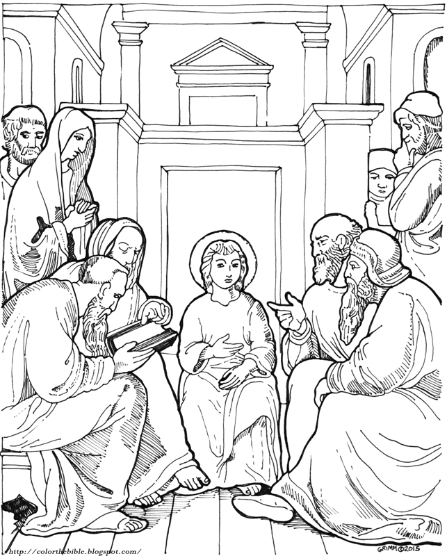 Christ In The Temple As A Child Color The Bible Boy Jesus In The Temple Coloring Page Free