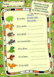 wild animals worksheet making negative sentences verb to be