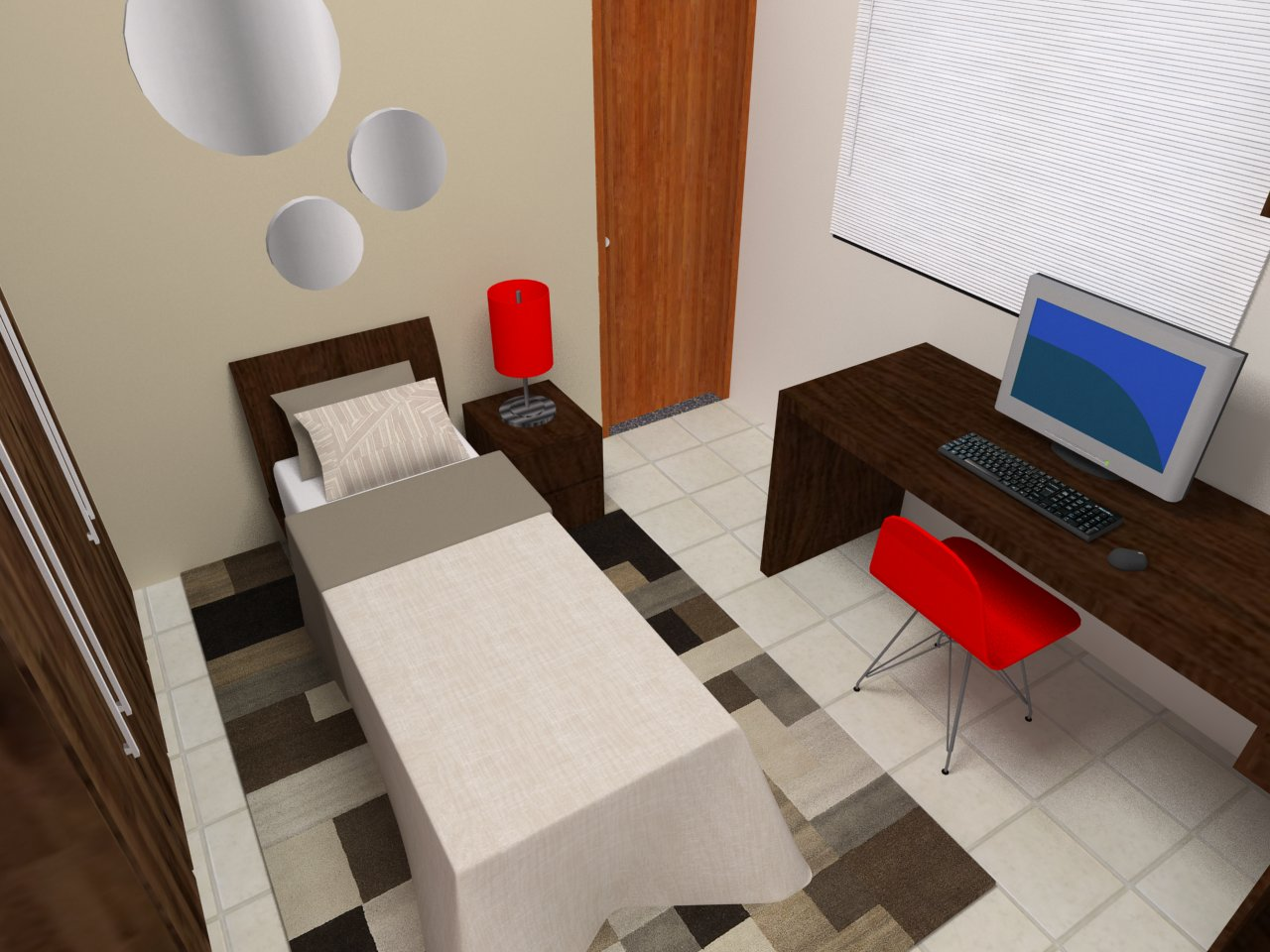 Design, Decoração, Design de interiores Projeto Quarto de  ~ Quarto Solteiro Design