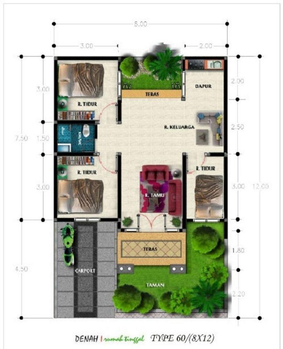 model denah rumah type 60 3 kamar tidur idaman