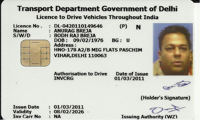 Previous expiring driving license in