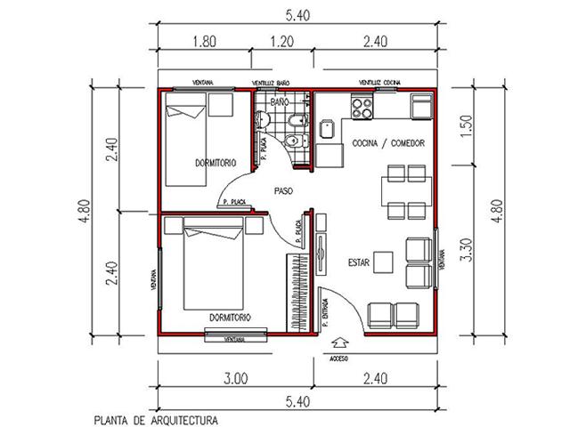 Viviendas anahi planos images for Planos de viviendas de una planta