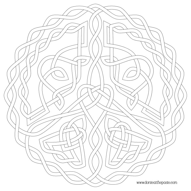 Don 39 t eat the paste peace symbol knot to color for Peace sign mandala coloring pages