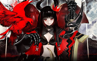 Black Gold Saw Anime Gilr Red Eye Horn Sword Red Hawk HD Wallpaper Desktop PC Background